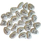 Fortune Telling Toys Rune Stone Sets Elder Futhark with Single Blank Divination White Resin with Bag
