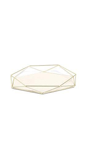 """Umbra Prisma Tray, Geometric Plated Jewelry Storage, 11"""" Length x 7.25"""" Height x 1.5"""" Width, Matte Brass"""