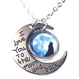KozyChic I Love You to the Moon and Back Silver Wolf Moon Crescent Necklace