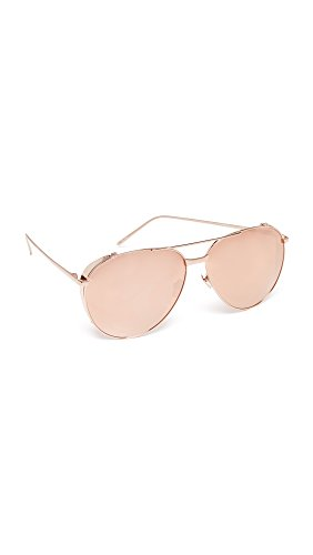 Linda Farrow Luxe Women's 18k Rose Gold Plate Mirrored Aviator Sunglasses, Rose Gold/Rose Gold, One - Linda Farrow Aviator