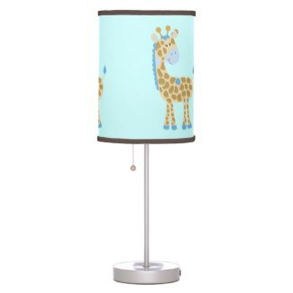 Blue Giraffe Jungle Jill Nursery Lamp with Brown Trim Shade by Art by Jess Designs