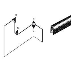 Edge trim PVC black application range 1.0-2.0 mm height 9.5mm width 6.5mm