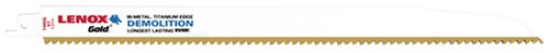 (LENOX Tools 21223B106GR Gold Power Arc Demolition Reciprocating Saw Blade, For Demolition, Nail-Embedded Wood Cutting, 12-inch, 6 TPI,)