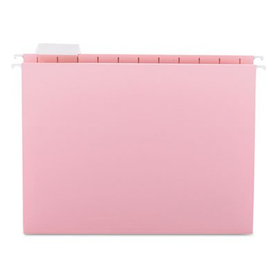 Hanging File Folders, 1/5 Tab, 11 Point Stock, Letter, Pink, 25/Box, Sold as 25 (Pink Hanging File Folders)