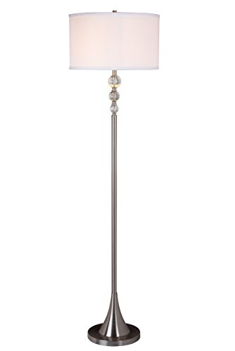 (Artiva USA Spheres, 60-inch Stylish, Satin Nickel Finished Floor Lamp with Real, Clear Crystal Spheres)