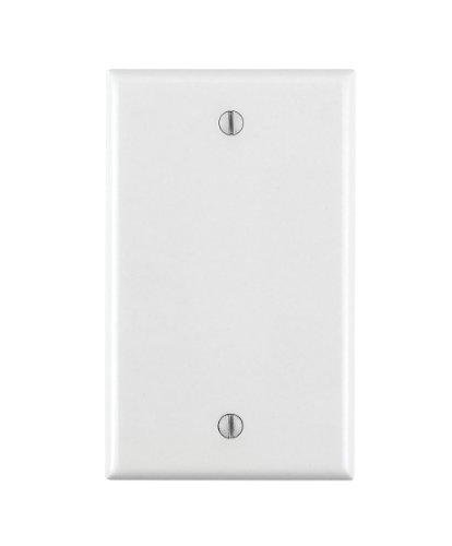 Leviton 80714-W 1-Gang No Device Blank Wallplate, Standard Size, Thermoplastic Nylon, Box Mount, White - Outlet Wall Plate Cover
