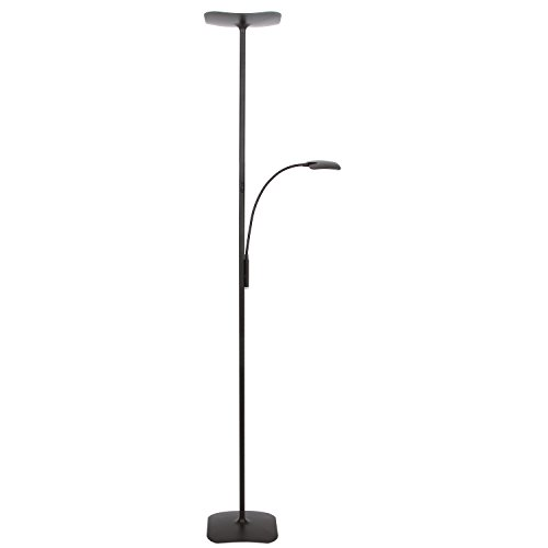 Brightech SKY Plus- LED Torchiere Floor Lamp – 33 W Energy Saving, Dimmable, Adjustable, Reading Lamp– Modern Tall Standing Pole Uplight for Light Living Room, Dorm, Bedroom or Office – Dark Bronze (Tall Floor Torchiere)