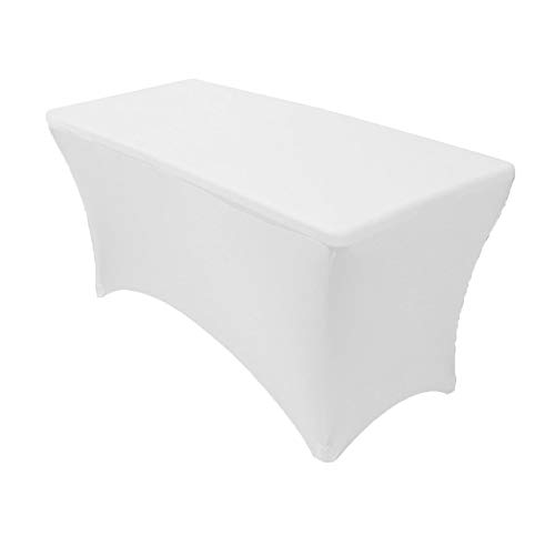 (Your Chair Covers 4' Rectangular Fitted Stretch Spandex Table Cover, White)
