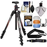 Manfrotto BeFree 55.9' Carbon Fiber Tripod with Ball Head & Case with Diffuser Filter Set + Strap + Kit