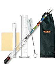 artale Triple Scale Alcohol Hydrometer Test Kit for Home Brew Beer, Wine, Mead, Cider with Specific Gravity Test Kit, 250ml Plastic Test Jar, Cleaning Brush/Cloth/Storage Bag - ABV, Brix and Gravity by artale