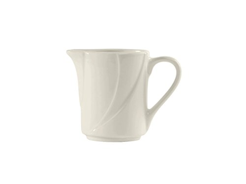 Tuxton ASU-100 Vitrified China San Marino AlumaTux Creamer, 5 oz, 3-5/8, Pearl White (Pack of 12), - China Pearl China Creamer