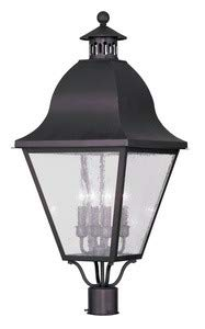 Livex Lighting 2548-07 Amwell - Four Light Outdoor Post Head, Bronze Finish with Seeded Glass