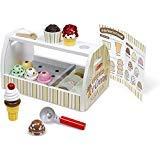 (Melissa & Doug Scoop & Serve Ice Cream Counter: Wooden Play Food Set + Free Scratch Art Mini-Pad Bundle (92869))