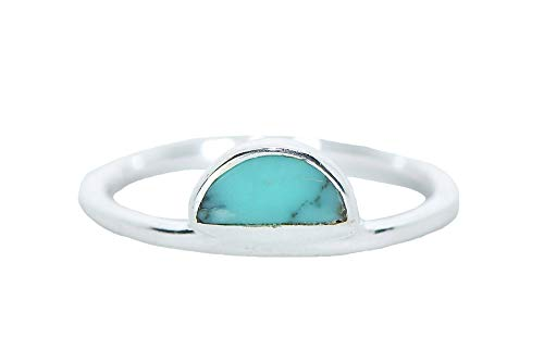 Pura Vida Half Moon Silver Plated Ring w/Turquoise Gem - .925 Sterling Silver - Size 8