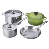 Le Creuset 7pc Stainless Steel & Palm Green Cast Iron Cookware Set Deal (Small Image)