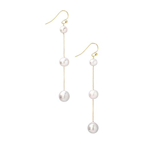 (Chan Luu Tiered Floating Pearl Dangle Earrings in White and Grey)