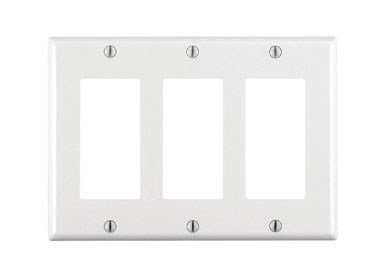 Leviton 80411-W 3-Gang GFCI Decora Wallplate, Standard Size, Thermoset, Device Mount, White, 1 Pack, - Leviton Three Gang