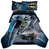 (Reversible Batman, 4pc Twin Comforter & Sheet Set, featuring the Batmobile)