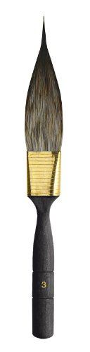 da Vinci Graphic Design Series 704 Pinstriping Brush, Dagger-Shaped Synthetic Imitation Squirrel with Black Handle, Size 3