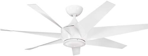 Kichler Lighting 310112WH Lehr II Climates 54-Inch Wet Spot High Efficiency DC Ceiling Fan, White Powder Coat Finish with White ABS Blades