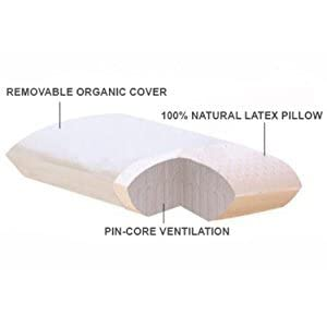All Natural Latex Pillow With Organic Cotton Outer Covering (Standard - Medium Firm)