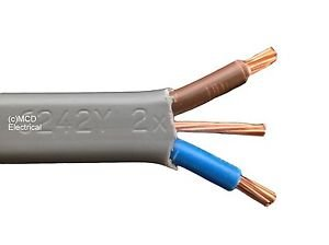 Grey 50m x 2.5mm Electrical Light Twin and Earth Cable 6242Y BASEC Approved