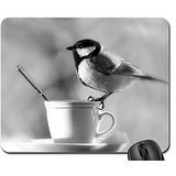 Chickadee At Teatime Mouse Pad, Mousepad (Birds Mouse Pad) (Chickadee Tea)