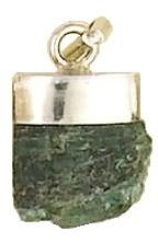 Rough Emerald Pendant Natural Healing Crystal Set in Sterling Silver .925 Pendant