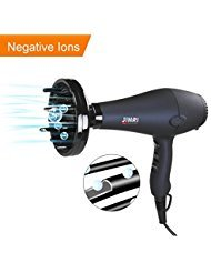Jinri Professional 1875W DC Motor Light Weight Negative Ions Ceramic Ionic Hair Dryer ,With 3 Heat 2 Speed With Cool Shot Button ,With Concentrator & Diffuser Low Noise ,Black - And Is Ceramic Hair Dryer
