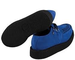 T.U.K. A8282 TUK Schuhe 36 mondo niedrigen Sohle Creepers electric blue Suede Bordell
