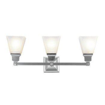 Livex Lighting 1033-91 Mission 3 Light Vanity Brushed Nickel with Frosted Glass