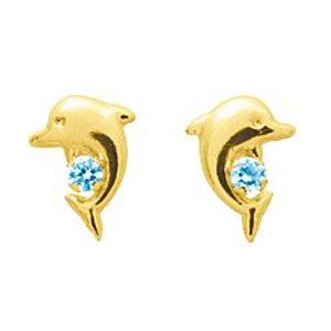 So Chic Bijoux © Boucles d'oreilles Femme Fille Puces Dauphin Animal Topaze Bleu Or Jaune 750/000 (18 carats)