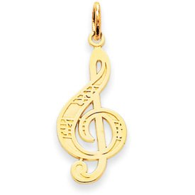14k Music Note Treble Clef Charm (14K Yellow Gold)