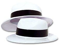 [White Plastic Gangster Hats per dozen] (Gangster Hats For Sale)