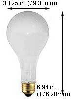 Incandescent Light Bulbs 300MPS2599IF 130V Frost (Case of 60)
