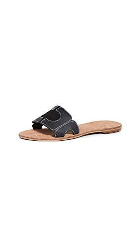 Diane von Furstenberg Women's Link Slide Sandals, Black/Ecru, 8 Medium US
