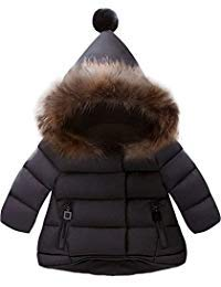 (Jojobaby Baby Boys Girls Hooded Snowsuit Winter Warm Fur Collar Hooded Down Windproof Jacket Outerwear (4-5 Years, Black))
