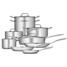 14-Piece Tri-Ply Clad Cookware Set, Stainless Steel - Tramontina