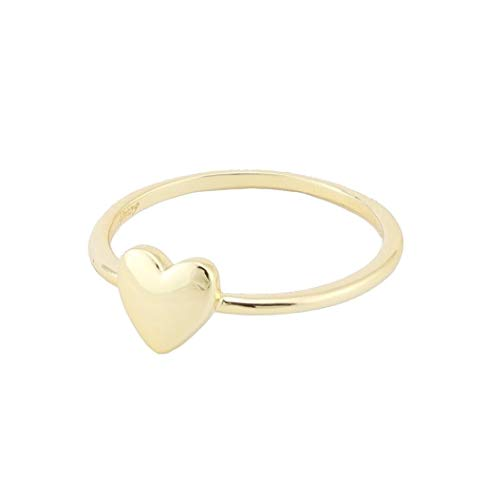 18K Gold Heart Ring - Stacking Ring (Gold-Plated-Brass, 8)