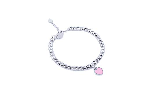 (Noe & Leo Heart Charm Bead Bracelet (Pink, White-Gold-Plated-Brass))