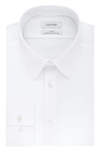 Calvin Klein Men's Non Iron Slim Fit Solid Point Collar Dress Shirt, White, 16.5