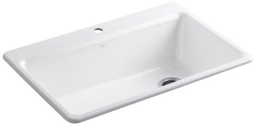 - KOHLER K-5871-1A2-0 Riverby Single Bowl Top-Mount Kitchen Sink, White