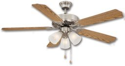 52'' 5 Blade Down Rod Ceiling Fan W/Light Kit - Satin Nickel by Lumera