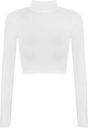WearAll Womens Turtle Neck Crop Long Sleeve Plain Top - White - US 4-6 (UK 8-10)