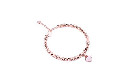 (Noe & Leo Heart Charm Bead Bracelet (Pink, Rose-Gold-Plated-Brass))