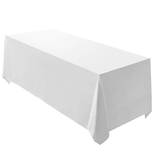 Surmente Tablecloth 90 x 132-Inch Rectangular Polyester Table Cloth for Weddings, Banquets, or Restaurants (White) ...