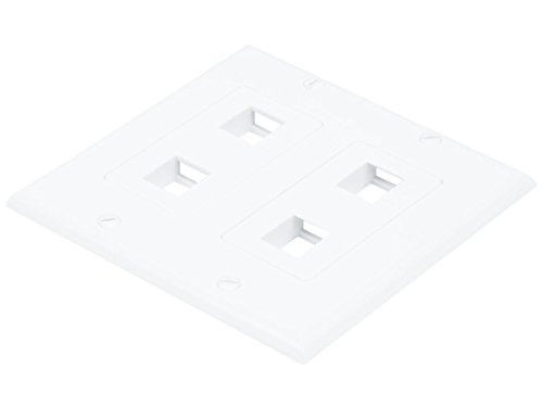 Monoprice 2-Gang Wall Plate for Keystone, 4 Hole - White (2 Pack) - Plate Ideal Wall