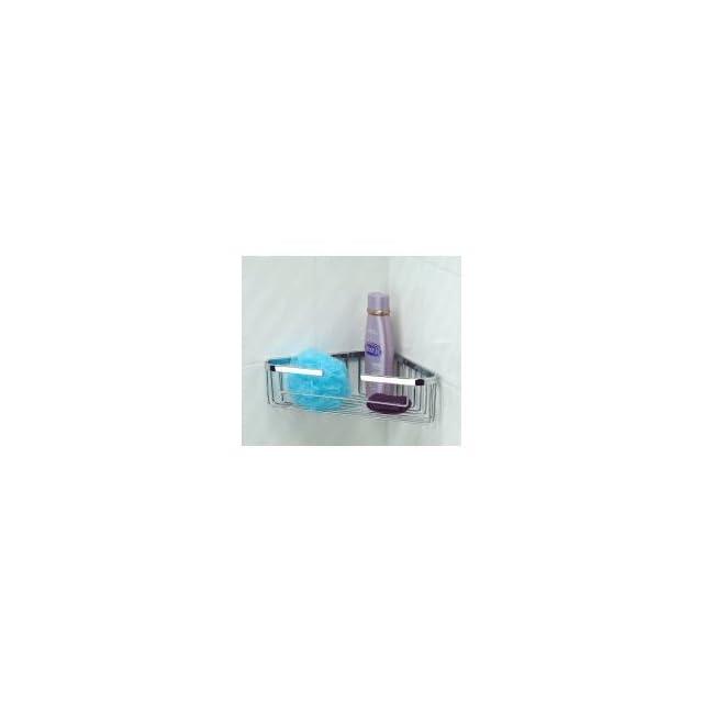 "Taymor Industries 05 1086SPC Polished Chrome Bathroom Accessories Corner Shampoo & Soap Shower Wire Basket  8 1/4""5""x1 5/8""   Mounted Bathroom Shelves"