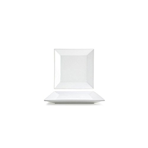 """Front of the House DAP011WHP13 Kyoto Square Plate, 1"""" Height, 8.5"""" width, 8.5"""" Length, Porcelain (Pack of 12)"""
