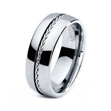 Charmy Jewelry 8mm Tungsten Carbide Men's Dome Wedding Band with Plated Rope Accent Polished Finish Comfort Fit...
